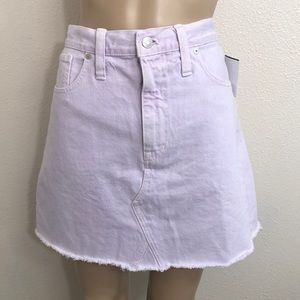 🆕 Madewell Lilac A Line Raw Hem Denim Skirt Sz 31